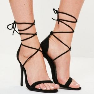 Missguided black sexy lace up heels